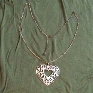 Jewelry - Large silver tone heart medallion necklace